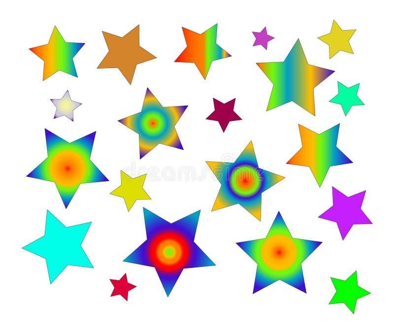 Five-point sterren van de kleur stock afbeeldingen