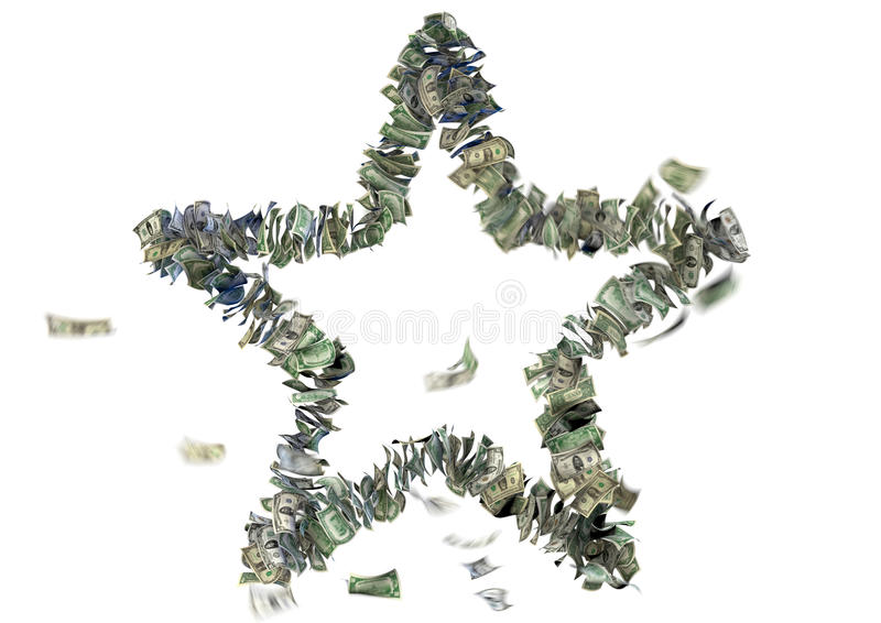 Five pointed star in US bills stock photos