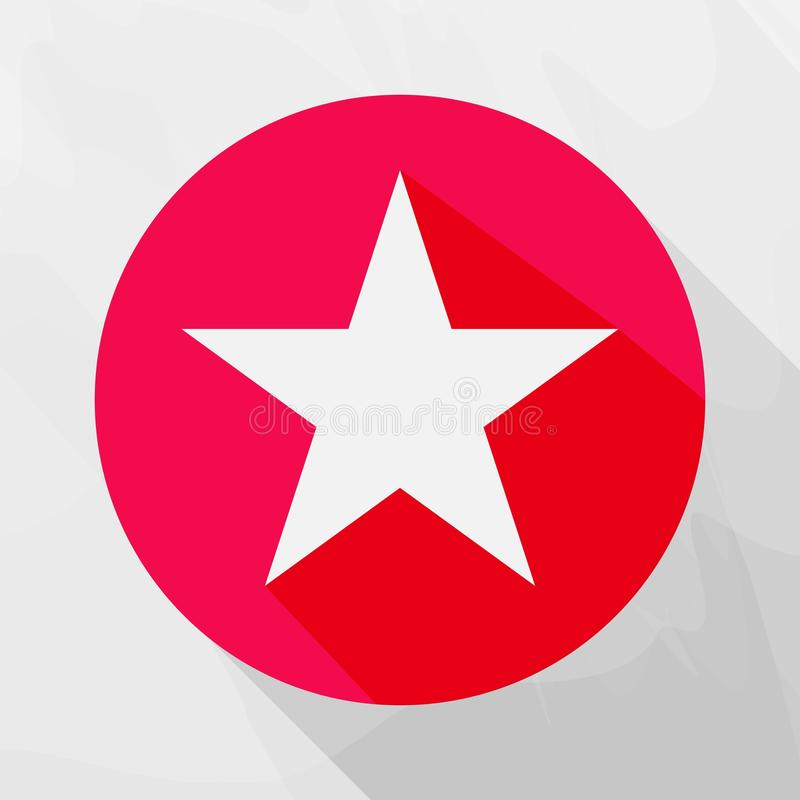 Five-pointed star vector icon. Star symbol in the circle. Layers. Five-pointed star vector icon. Flat star symbol in the circle with shadow. Layers grouped for vector illustration