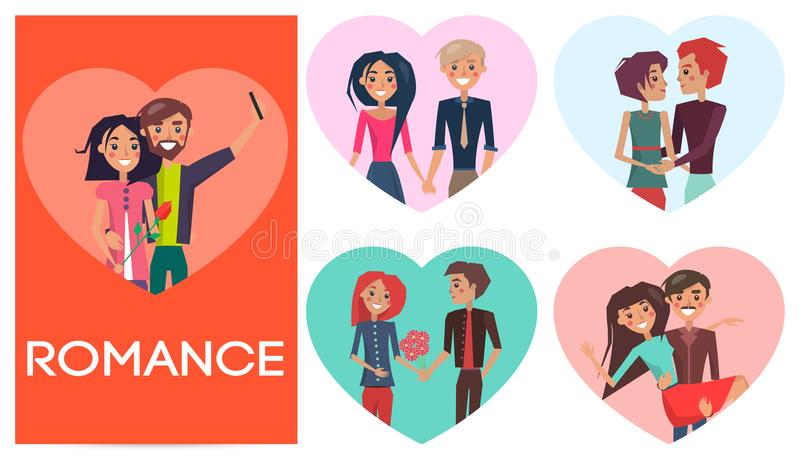 Five Portraits of Romance Pair in Shape of Heart. Vector illustration. Different couples in love with flower holding hands, makes selfie royalty free illustration