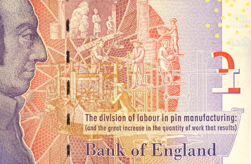 Five Pound Note With Adam Smith Portrait royalty free stock image