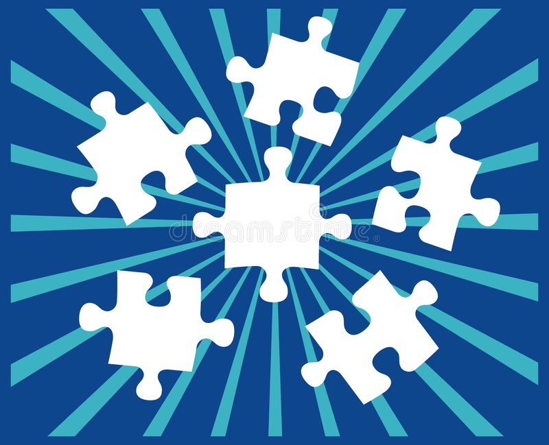 Five Puzzle pieces on blue royalty free illustration