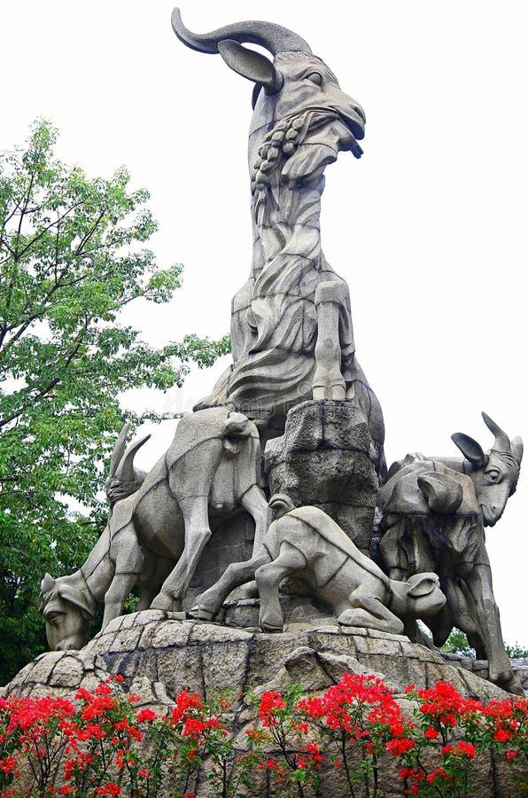 Five rams statue, yuexiu park, guangzhou, china stock image