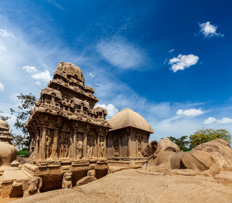 Five Rathas. Mahabalipuram, Tamil Nadu, South India. Five Rathas - ancient Hindu monolithic Indian rock-cut architecture. Mahabalipuram, Tamil Nadu, South India royalty free stock photo