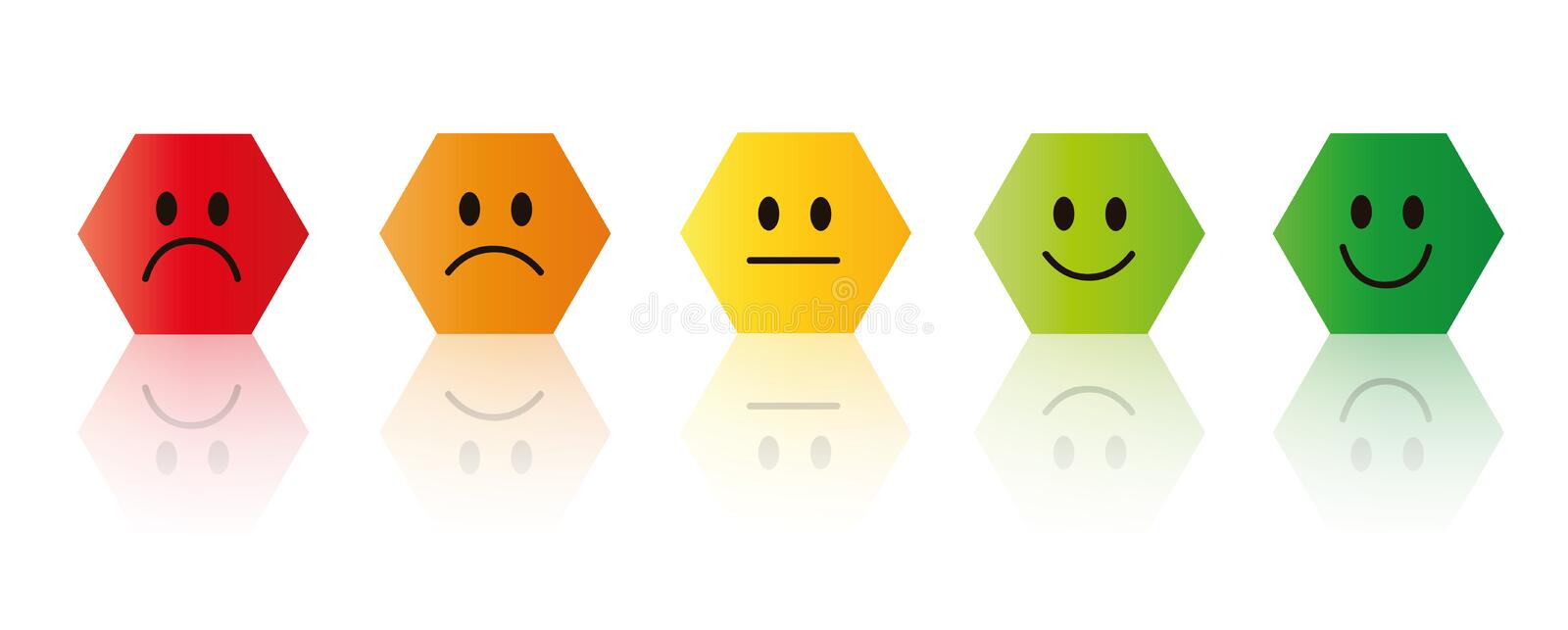 Five rating smiley faces red to green polygon vector illustration