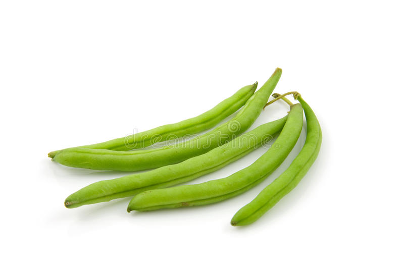 Five raw green beans stock images