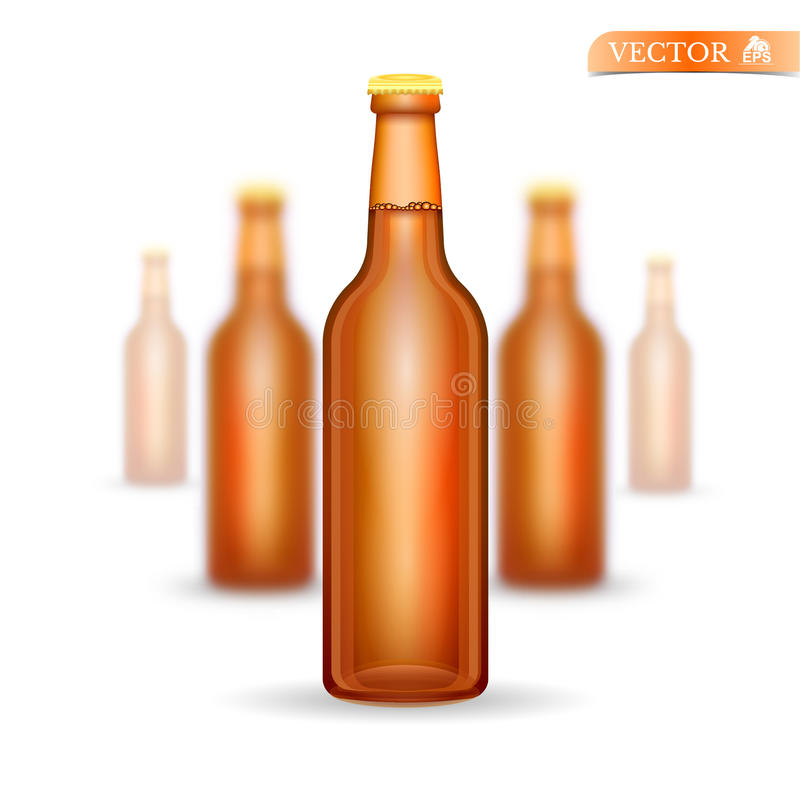 Five realistic mock up brown glass bottle of beer on white background stock illustration