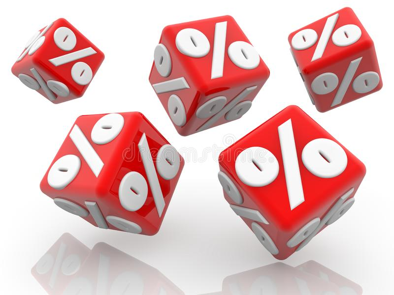 Five red cubes with percent concept in white. In background vector illustration