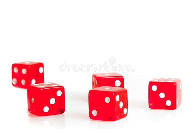 Five red dice with space for text royalty free stock images