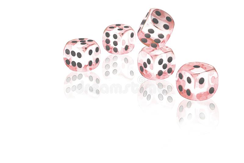 Five red dices on a white background stock illustration