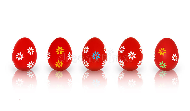 Five Red Easter Eggs stock image