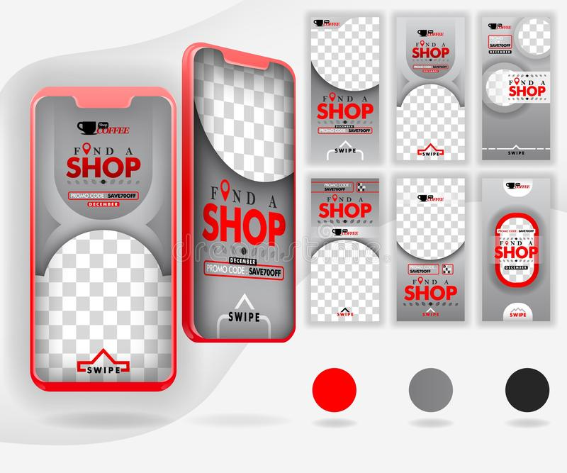 Five red mockup smartphones for online promotion and internet marketing, with 6 template social media templates, can use for, land vector illustration