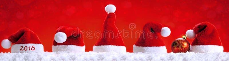 Happy new year 2018 santa hats . royalty free stock images