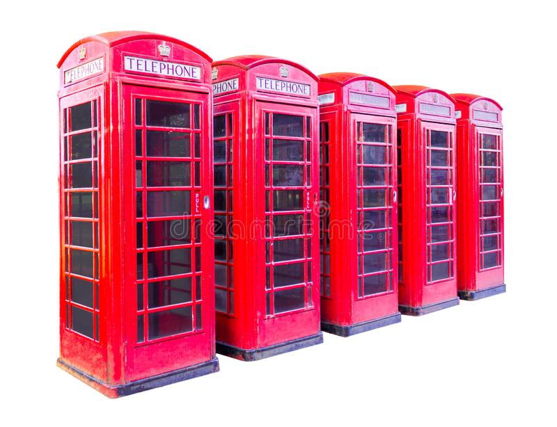 Five red telephone box in London isolated on white background with clipping path royalty free stock images