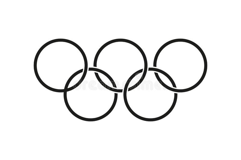 Five ring icon. Olympic games isolated vector symbol. Thin line. Abstract brochure with olympic games. Minimal poster vector illustration