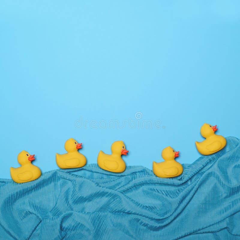 Five rubber ducks swimming in lake made of waving silk - Trendy minimal design stock photography