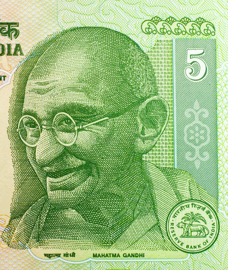 Five Rupees. Close-up of five Indian rupees banknote. Featuring Mahatma Gandhi royalty free stock photography
