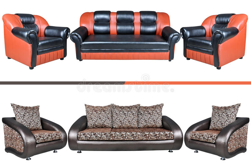 Download Five seat leather sofa stock image. Image of cushion - 30982063