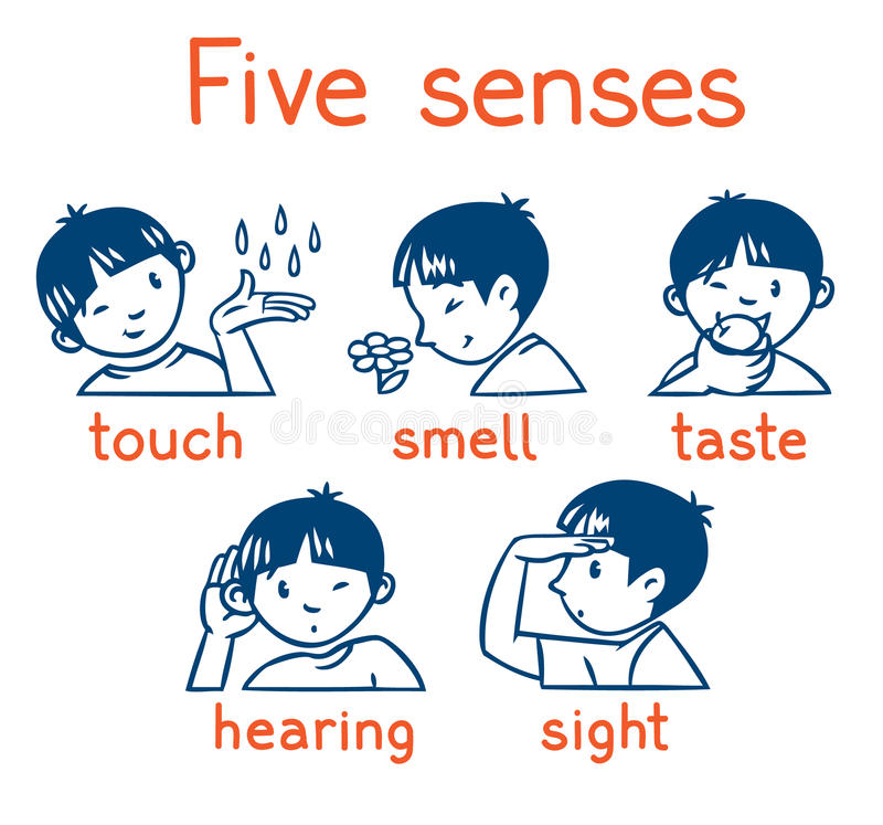 Five senses monochrome icon set stock illustration