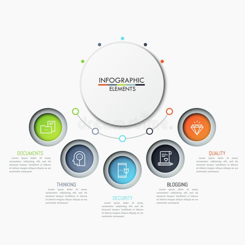Five separate circular elements with icons and text boxes placed in semicircle way. Features of mobile security concept. Creative infographic design template royalty free illustration
