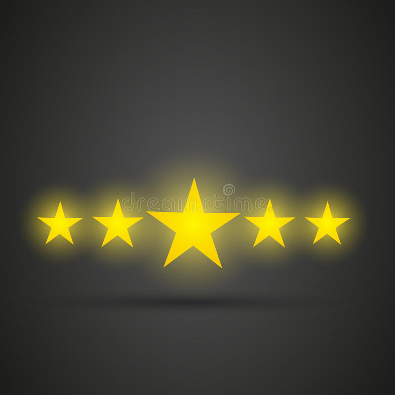 Five shiny golden stars. Abstract background vector illustration