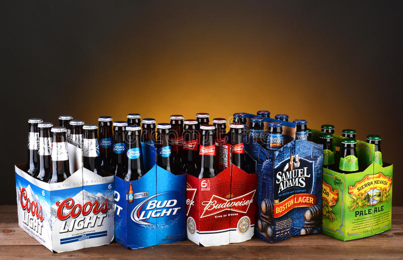 Five Six Packs of Domestic Beer stock images