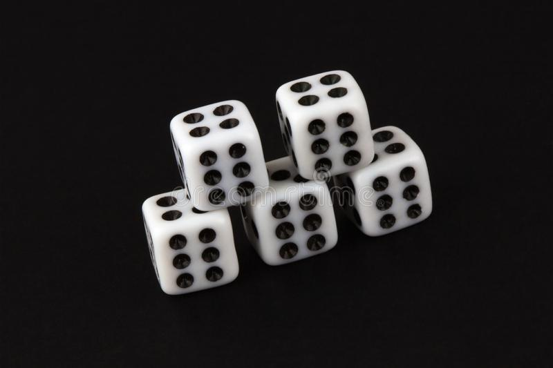 Five sixes dices royalty free stock photo
