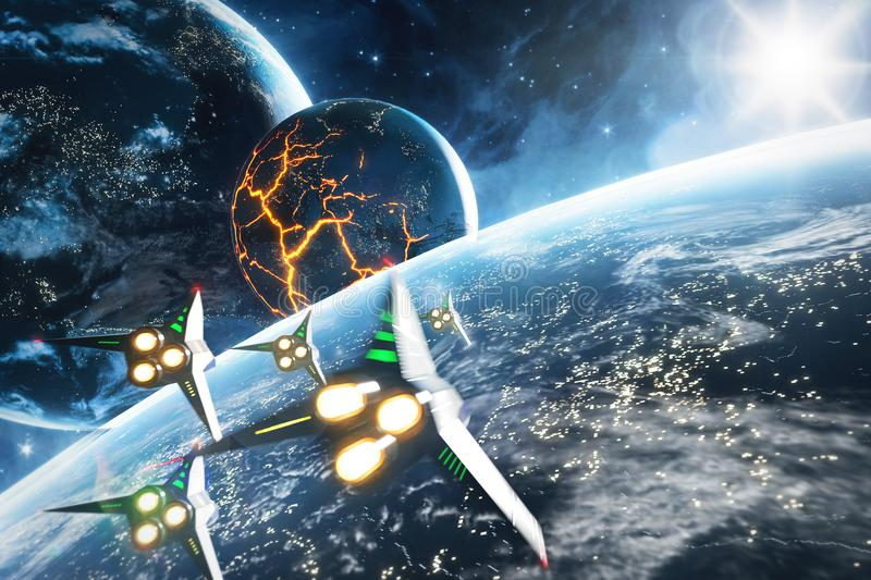 Five space ships flying to the collapsing planet. Elements of this image furnished by NASA. Five space ships flying to the collapsing planet. Sci-Fi concept royalty free illustration