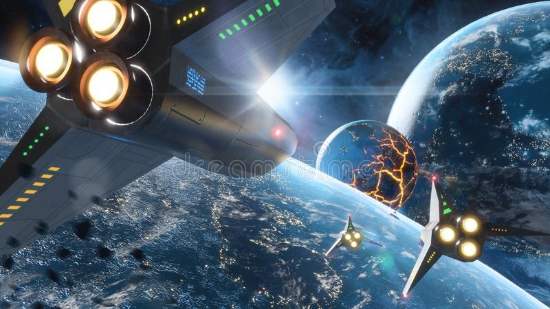 Five space ships flying to the collapsing planet. Elements of this image furnished by NASA. Five space ships flying to the collapsing planet. Sci-Fi concept vector illustration
