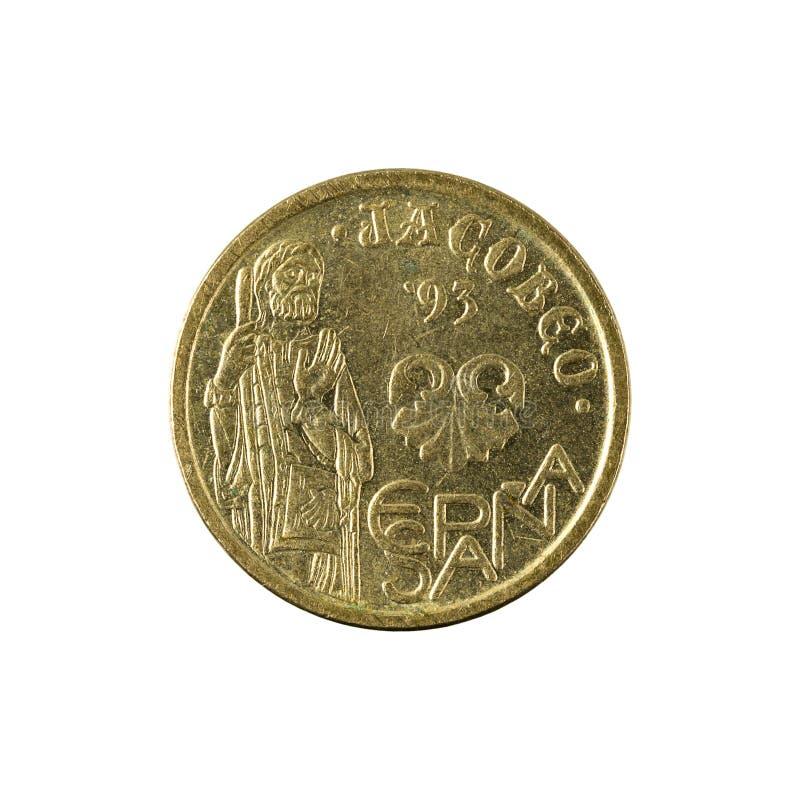 Five spanish peseta coin 1995 isolated on white background. Specimen royalty free stock photos
