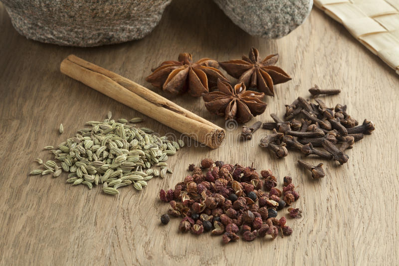 Five spices to make five-spice powder stock images
