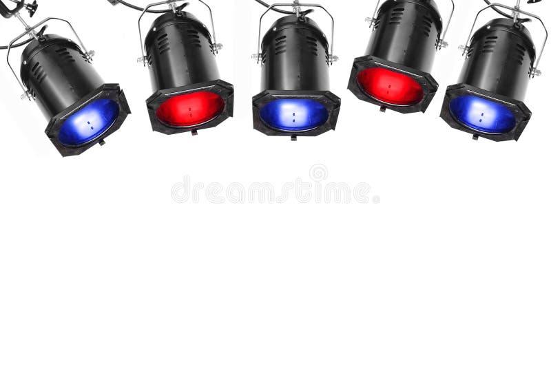 Five spotlights stock image
