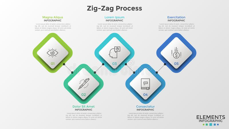 Creative infographic design template. Five square paper white elements with thin line symbols and numbers inside connected by horizontal zigzag line. Creative royalty free illustration