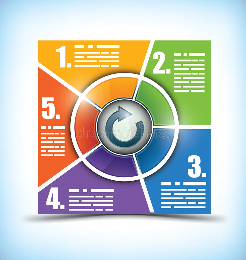 Five stage color changing workflow chart royalty free illustration