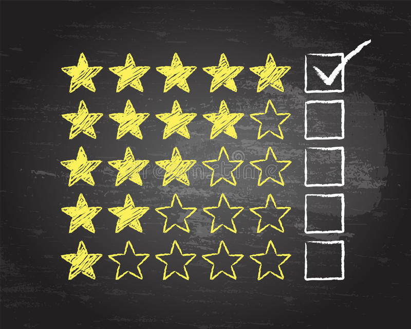 Five Star Blackboard Tick. Gold stars with five rating ticked in chalk on blackboard background stock illustration