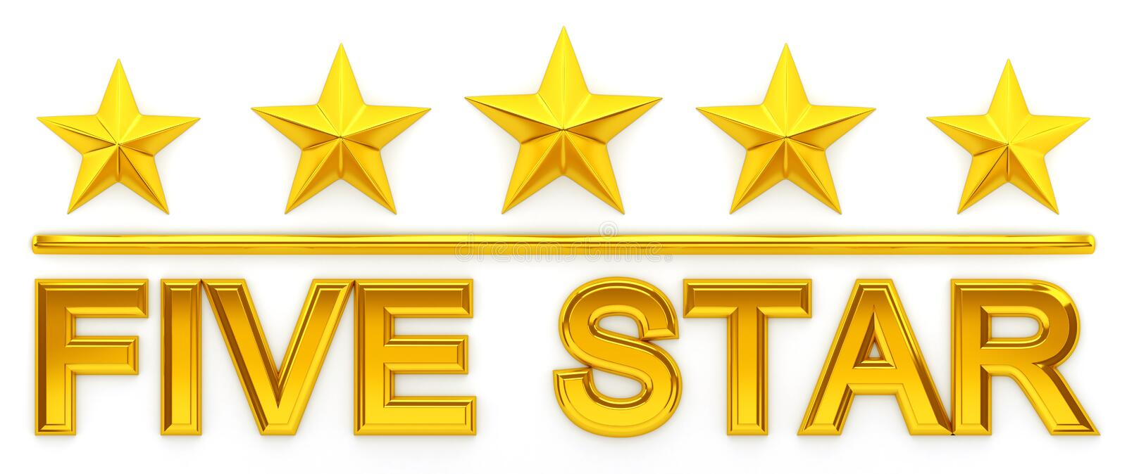 Download Five Star - 3d rendering stock illustration. Image of quality - 97179024