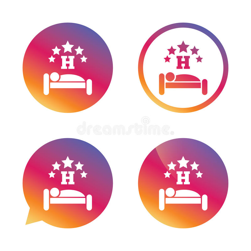 Five star Hotel sign icon. Rest place. Five star Hotel apartment sign icon. Travel rest place. Sleeper symbol. Gradient buttons with flat icon. Speech bubble royalty free illustration