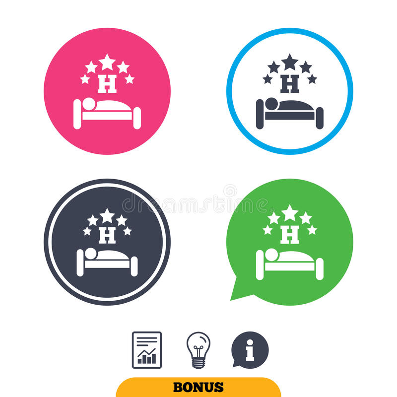 Five star Hotel sign icon. Rest place. Five star Hotel apartment sign icon. Travel rest place. Sleeper symbol. Report document, information sign and light bulb vector illustration
