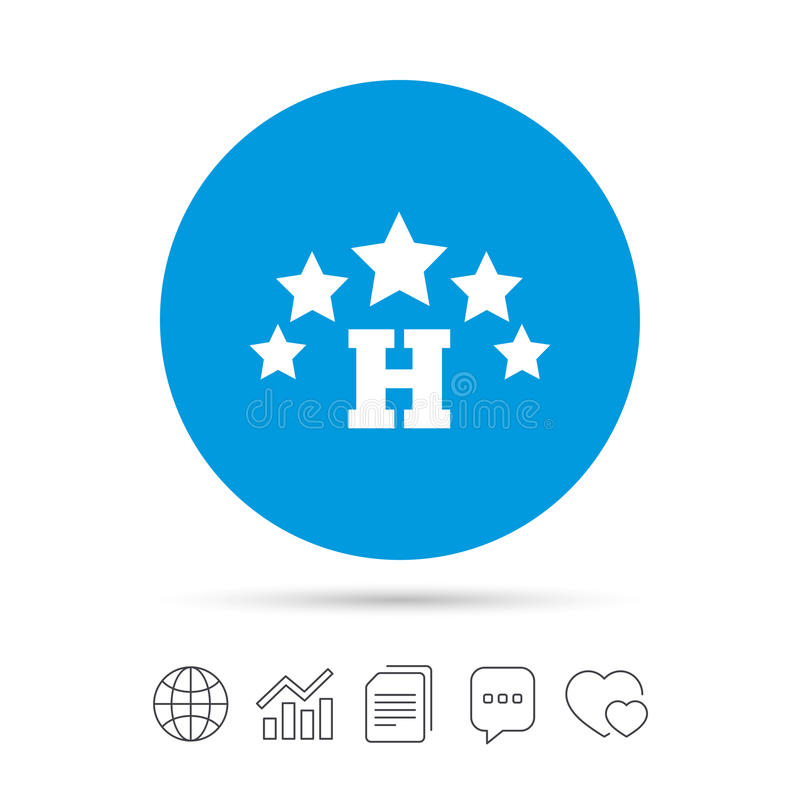 Five star Hotel sign icon. Rest place. Five star Hotel apartment sign icon. Travel rest place symbol. Copy files, chat speech bubble and chart web icons. Vector stock illustration