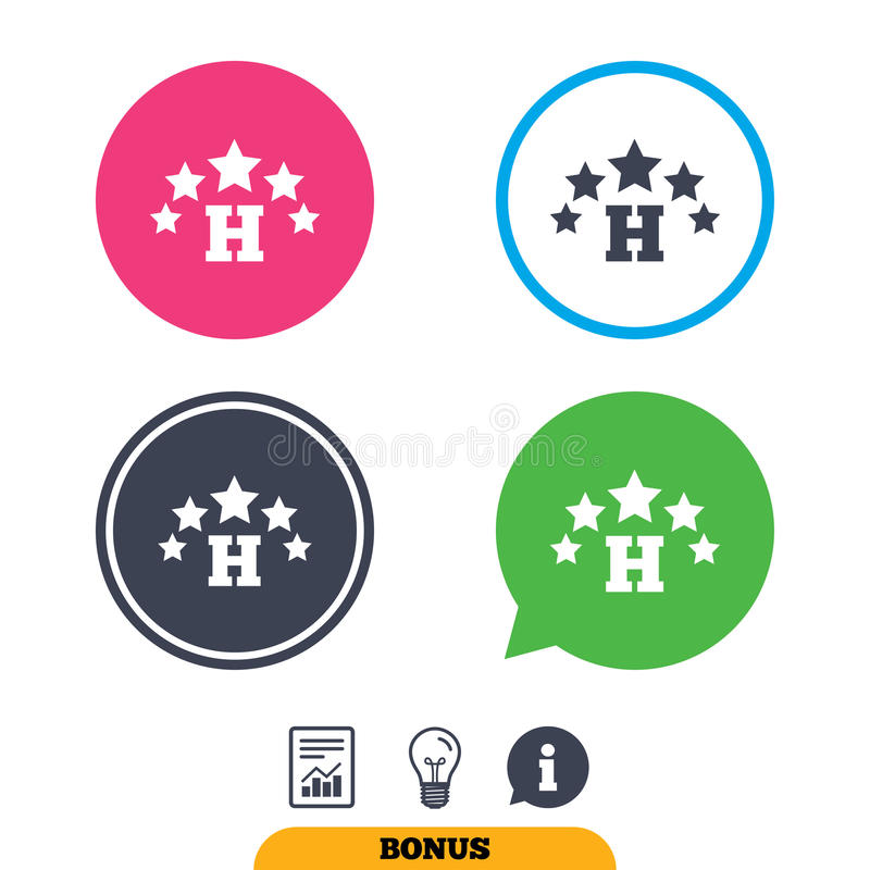 Five star Hotel sign icon. Rest place. Five star Hotel apartment sign icon. Travel rest place symbol. Report document, information sign and light bulb icons stock illustration