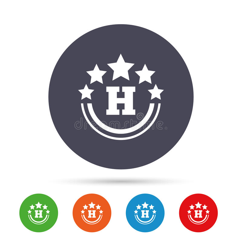 Five star Hotel sign icon. Rest place. Five star Hotel apartment sign icon. Travel rest place symbol. Round colourful buttons with flat icons. Vector stock illustration