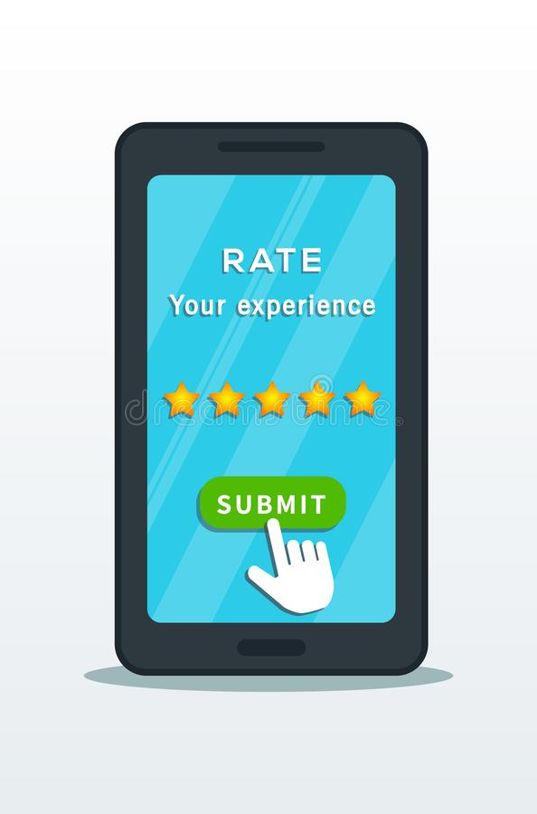 Five star quality rating system on smartphone screen with hand cursor pointer click on submit button isolated on white background. royalty free illustration