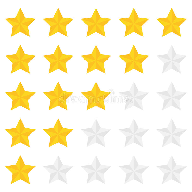 Five star ranking. In a flat style royalty free illustration