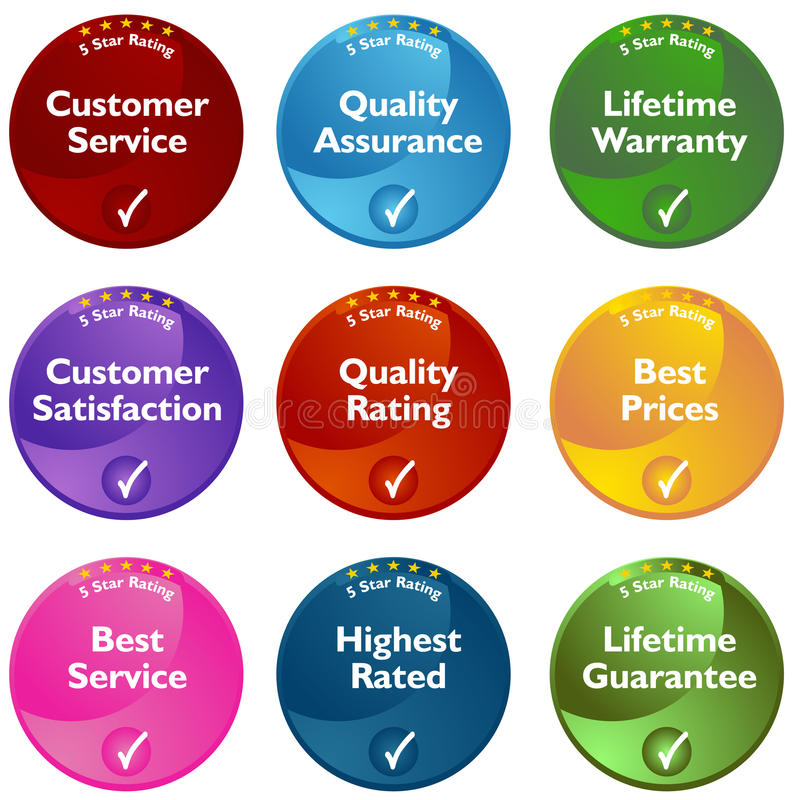 Five Star Rating Buttons royalty free illustration