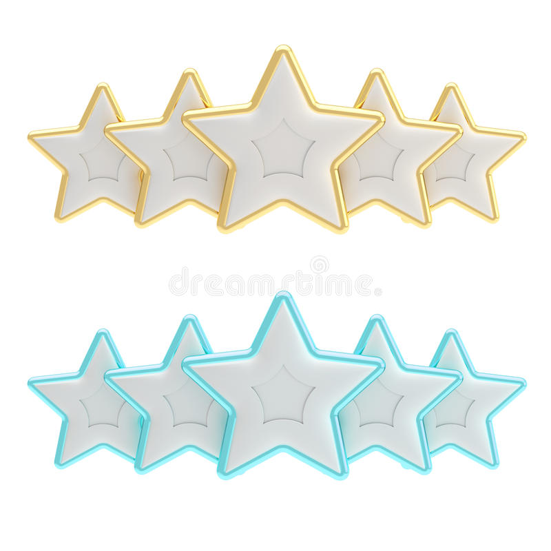 Download Five Star Rating Composition Isolated On White Stock Illustration - Illustration: 24234737