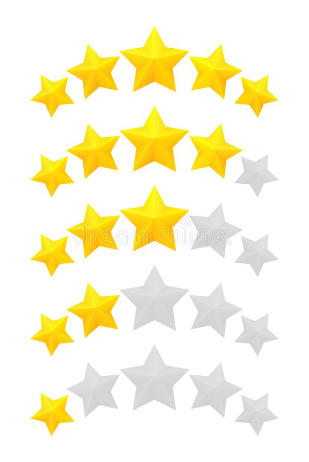 Five star rating. Different ranks from one to five stars. Golden embossed and gray transparent stars vector illustration