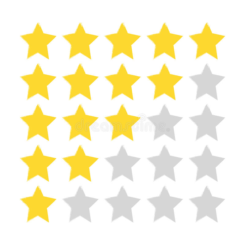 Five-star rating. Gold and gray stars painted with a rough brush. vector illustration