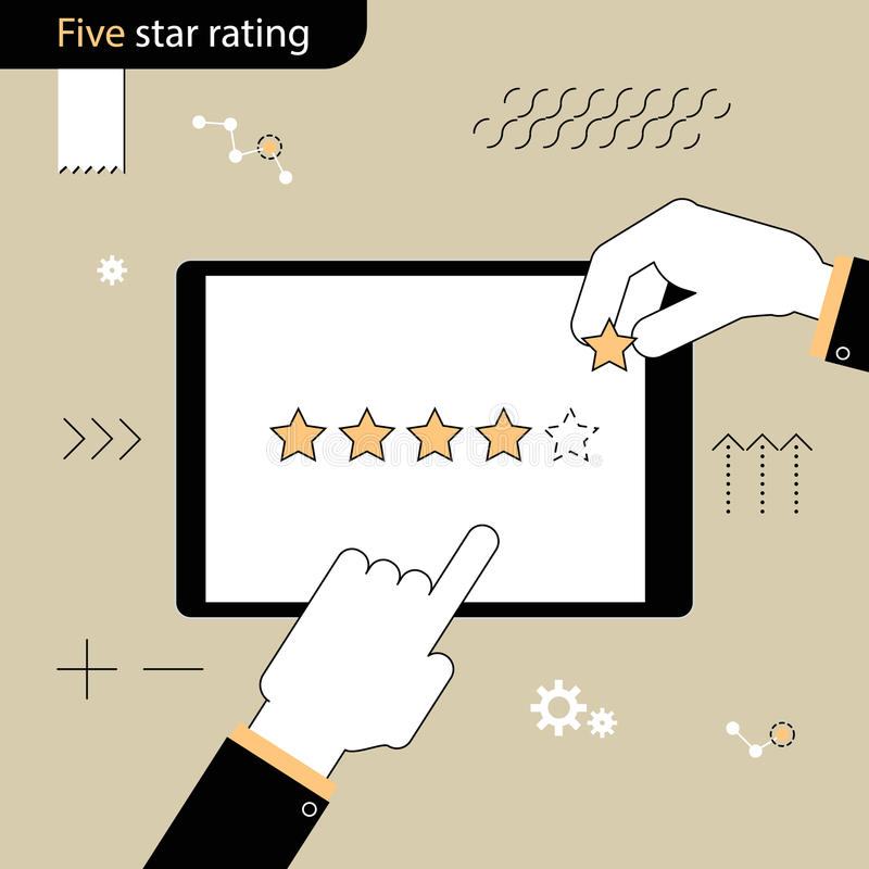 Five Star rating . Hand pointing a finger at the rating stars. H stock illustration
