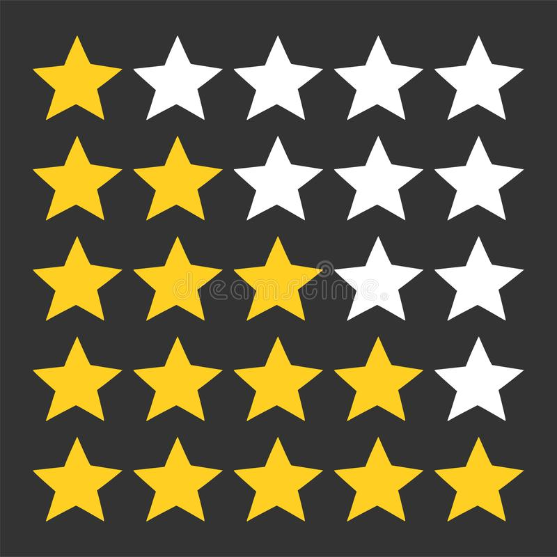 Five star rating set. Review rating, feedback and opinioin rank. 5 in a row. Vector image stock illustration