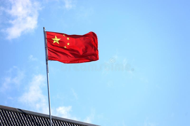 The Five-Starred Red Flag the national flag of the People`s Republic of China royalty free stock photo
